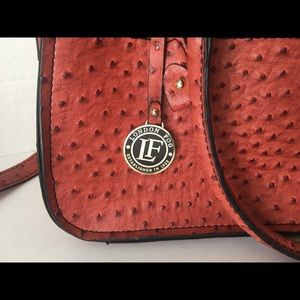 London Fog Crossbody Ostrich Leather Satchel